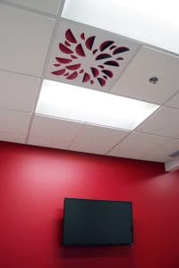 NEX-S-ER with Red Concave Elements installed in cafeteria with red wall - New QAT Offices