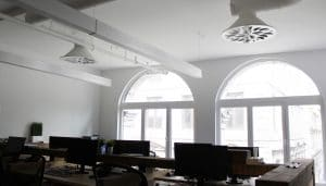 Shared Office Space With NEX-C Architectural Swirl Diffuser, IN-RGY Headquarters