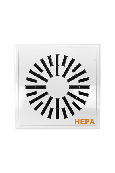 AXO-HEPA High Induction Square Swirl Diffuser with removable face and HEPA filter for high efficiency filtration and diffusion.